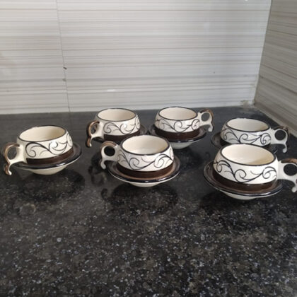 Ceramic Marble Print Chirag Tea/Coffee Cup Set of 6, Microwave Safe