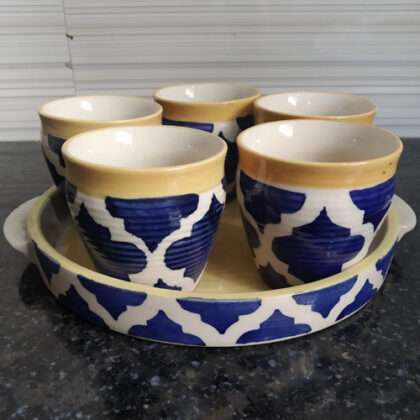 Microwave Safe Hand Made Ceramic Handpainted 5 Cups  and 1 Tray Tea Set